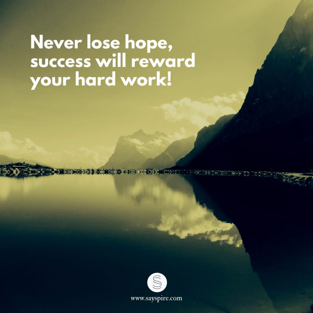 "Quotes about Hope, ""Never lose hope, success will reward your hard work""."