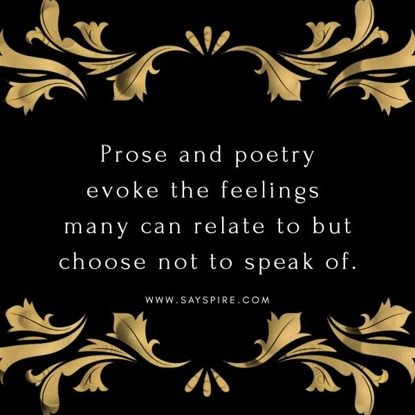 A decorative black image with gold accents and a quote about why are poems so powerful.