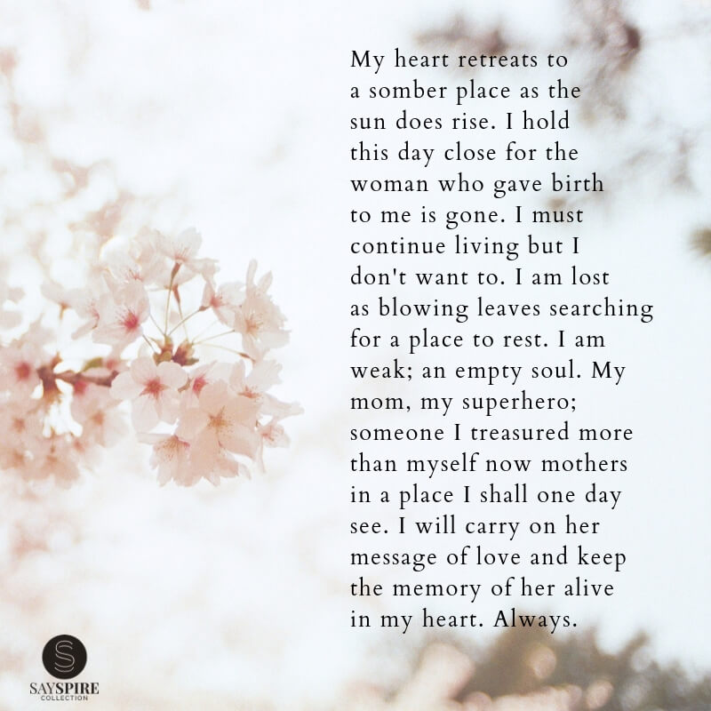 Loss of Mother Poem: My Heart Retreats – Sayspire Poetry